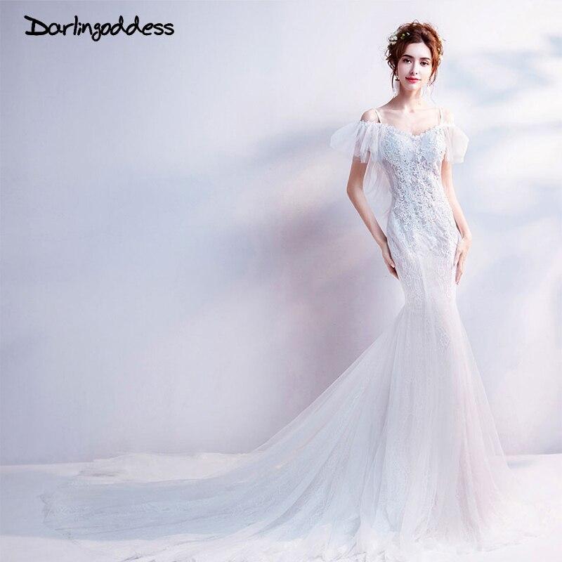 Darlingoddess Vestido De Noiva Lace Mermaid Wedding Dresses 2018 Luxury Beaded Appliques Backless Wedding Dress Short Sleeve
