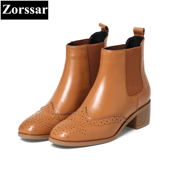 {Zorssar} 2017 NEW fashion British style Women Chelsea Boots Round Toe leisure low heel ankle boots winter female boots heels 2018 fashion cow leather zipper superstar winter boots women round toe low heel solid concise pregnant chelsea ankle boots l08