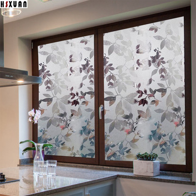 No glue static window films 60x100cm maple leaves printed frosted self adhesive transparent window stickers hsxuan
