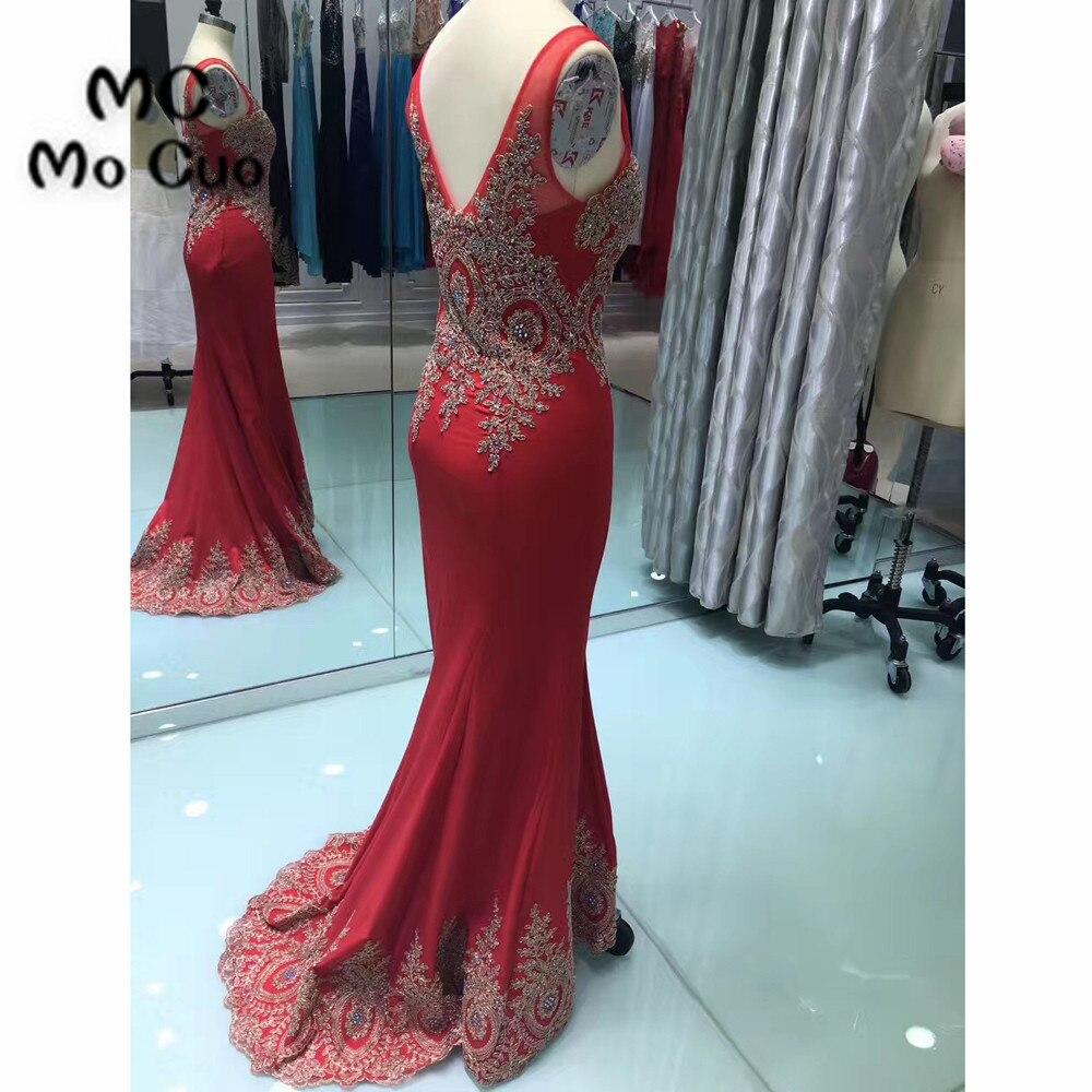 Red Mermaid Prom Dresses Long Sweep Train Sleeveless Zipper Back ...