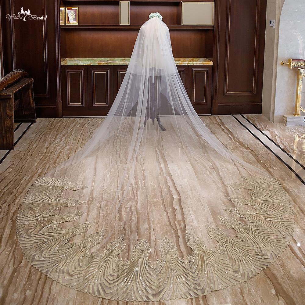 LZP323 реальное изображение Свадебные аксессуары свадебная фата золото волнистым узором аппликация Фата 3 м собор свадебная фата