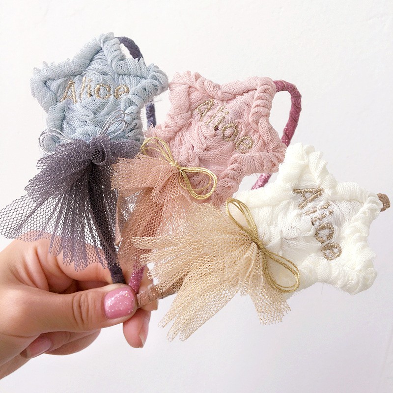 Korea lovely Star Flower Hair Accessories For Girls High Quality Hair Band Headband Hair Bow Princess 4