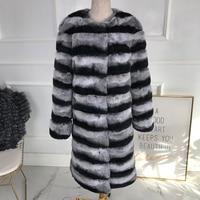 Latest Fashion 2019 Chinchilla Color Real Rex Rabbit Fur coat long Genuine Rabbit Fur without collar Winter women real fur coa