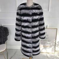 Neueste Mode 2019 Chinchilla Farbe Echt Rex Kaninchen Pelz mantel lange Echtem Kaninchen Fell ohne kragen Winter frauen echtpelz coa