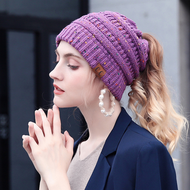 Winter Hats For Women Soft Knit Ponytail Beanie Female Messy Bun Beanie  Ponytail CC Crochet Knitted Stylish Hat Ladies 7099f025820