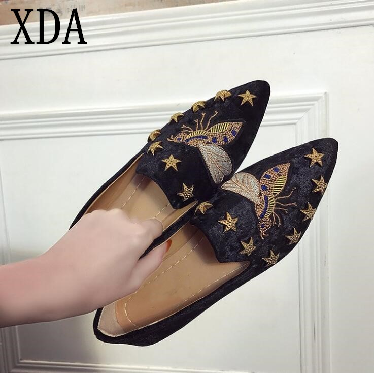 XDA New Women corduroy Flats Fashion Basic Mixed Colors Pointed Toe Ballerina shoes Flat loafers Slip On women single Shoes F215 odetina 2017 new women pointed metal toe loafers women ballerina flats black ladies slip on flats plus size spring casual shoes