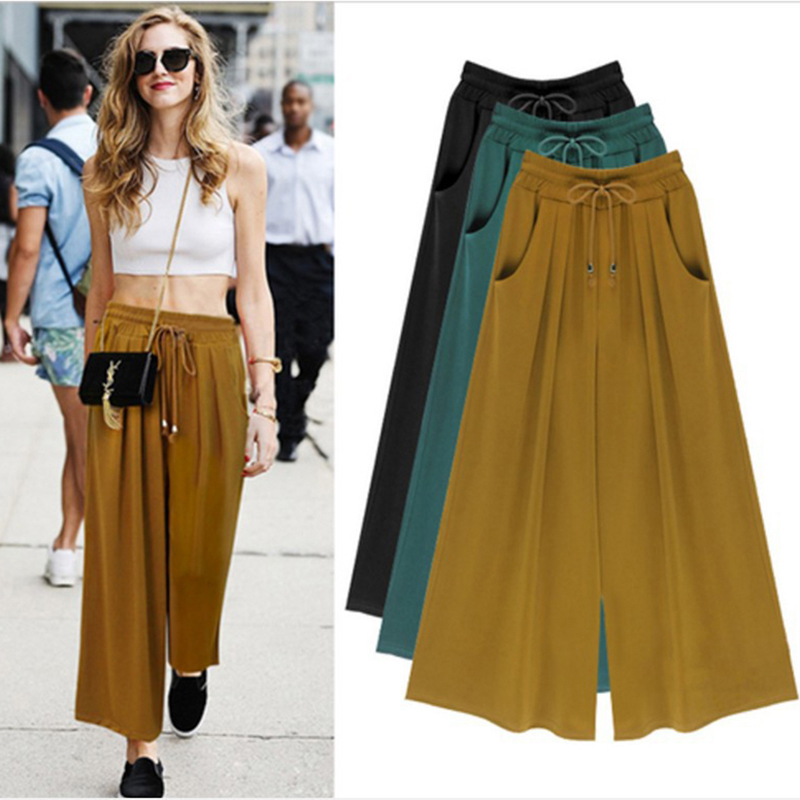 New Summer Women   Pants     Wide     Leg     Pants   Female Trousers Full Length High Waist Loose Fit Drawstring Three Colors M-6XL Available