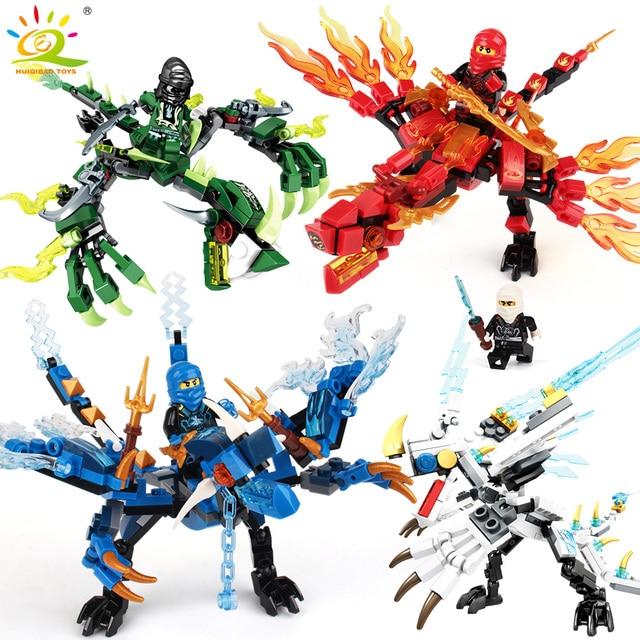 3-4/set legoing Ninjagoes Dragão Blocos de Construção Compatível Bricks Ninja Mini Figuras de Ação KAI JAY Iluminar Brinquedos para As Crianças