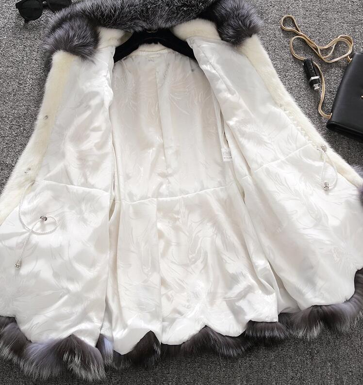2019high imitation fur coat women silver fox fur collar hooded rabbit fur coat medium long overcoat plus size S 4XL winter coat in Faux Fur from Women 39 s Clothing