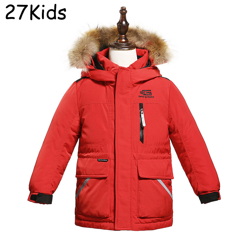 Down Jacket Boy Leather Jacket Teenagers Down Coat Jackets Windproof Girl Warm Fox Fur Collar NEW 2017 Autumn Winter Down Parkas russia winter boys girls down jacket boy girl warm thick duck down