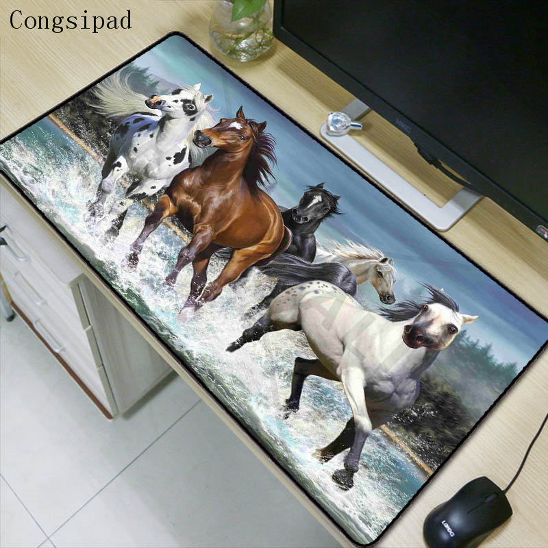 Congsipad Animal Horse Extra Large Waterproof Mouse Pad Gaming Mousepad Anti-slip Rubber Gaming Mouse Mat with Locking Edge