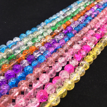 New 16inch About50pcs 8MM Charm Crackle Floral Glass Loose Round Spacer Beads DIY