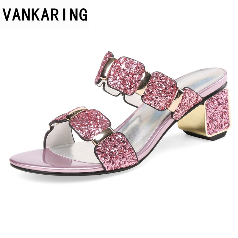 VANKARING women sandals new 2018 summer fashion sexy thick high heels open toe shoes woman dress party casual gladiator sandals changyuge 2018 new fashion sexy pumps women high heels open toe lace up heels sandals woman sandals thick with women shoes