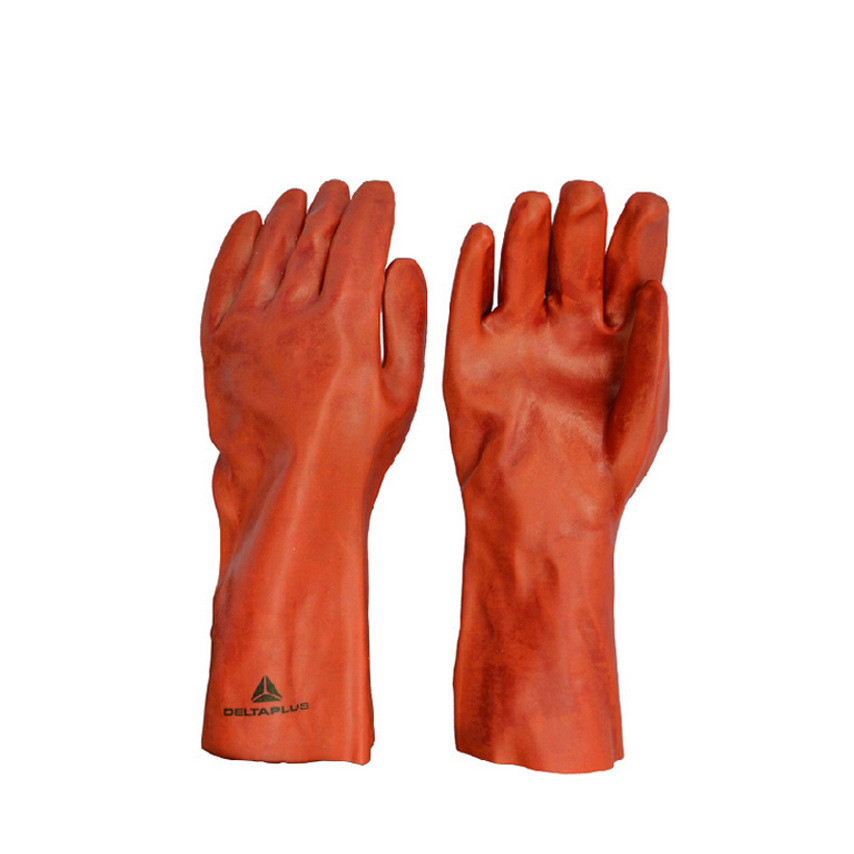 PVC chemical gloves knitted cotton lining acid and alkali wear chemical processing gloves anti acid and alkali chemical corrosion fisheries agriculture latex rubber gloves labor supplies black
