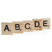 Hot 100 Wooden Alphabet Scrabble Tiles Black Letters Numbers For Crafts Wood