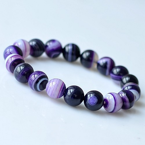 Natural Stones Sardonyx Purple Stripe Agate Bracelets Round Beads Bangle Men Women Crystal Quartz Jewelry Love Energy Gift