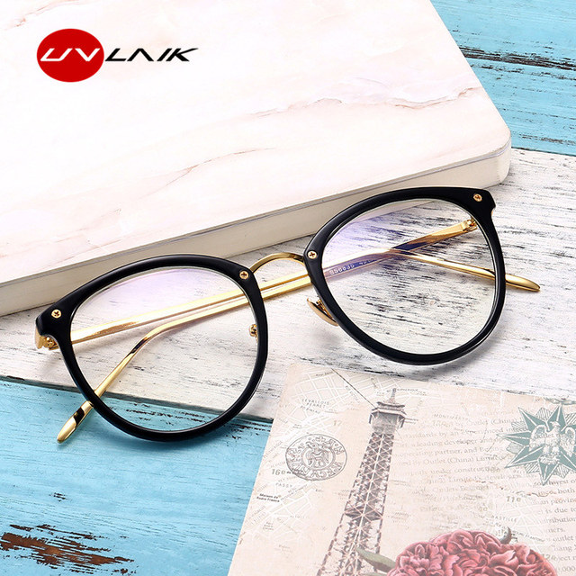 UVLAIK Clear Lens Cat Eye Glasses Frame Women Fashion Oversized Spectacle Frames Transparent Optical Eyeglasses Clear Eyeglass