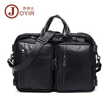 JOYIR Large Capacity Men's Shoulder Bag Genuine Leather Handbag VIntage Hight Quality Multifunctional Shoulders briefcase male