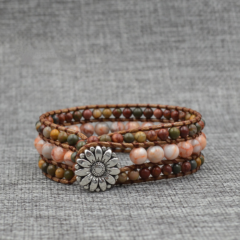 Bohemia Hand-woven Wrap Bracelet Multilayer Natural Stone Sun Flower Beaded For Women Accessories Wholesale