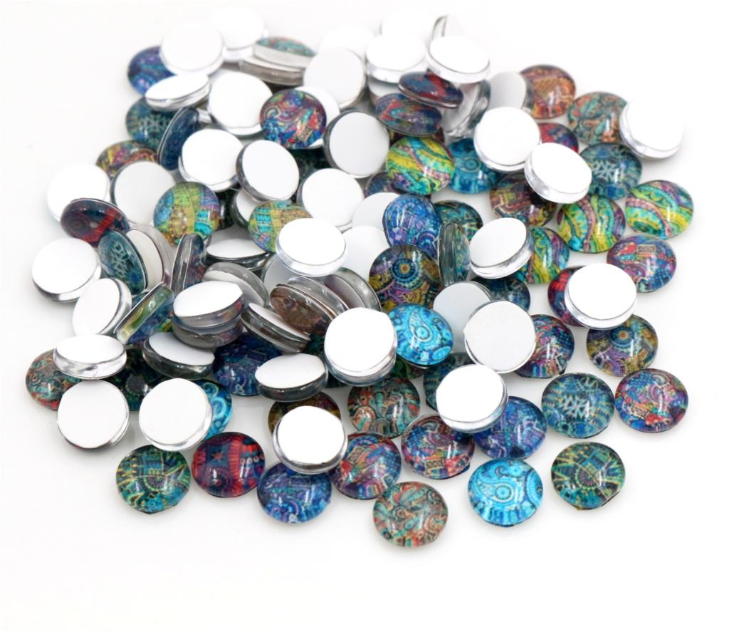 New Fashion Hot Sale 50pcs 8mm Mixed Colors Totem Style Handmade Photo Glass Cabochons-E1-36