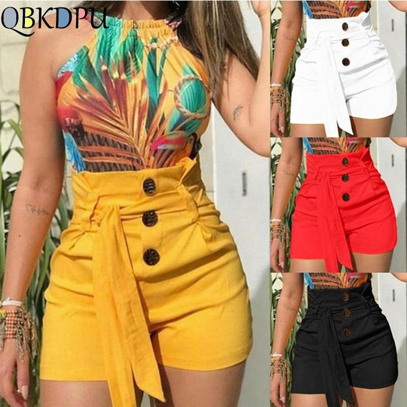 Women Summer Shorts Button Yellow Loose Shorts 2019 New Beach High Waist With Belt Short Trousers Swimsuit Swimwear