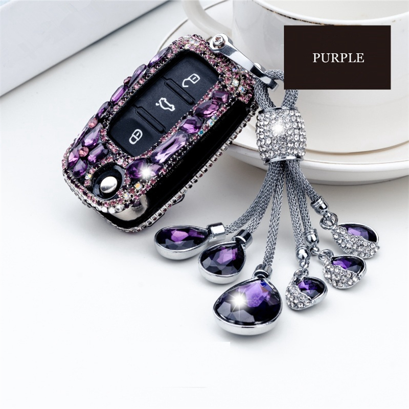 2018 nouveau luxe diamant porte-clés anneau clé shell voiture clé pack couverture/auto clé case pour Volkswagen Polo Passat Tiguan Bora cadeau