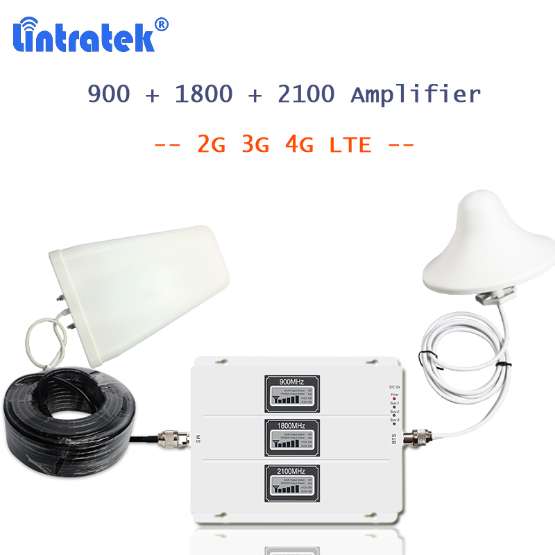 Lintratek cellulare 4g ripetitore del segnale 900 1800 2100 MHz con 3g 4g antenna display LCD AGC amplificador gsm 2g 3g 4g 20l-gdw S55