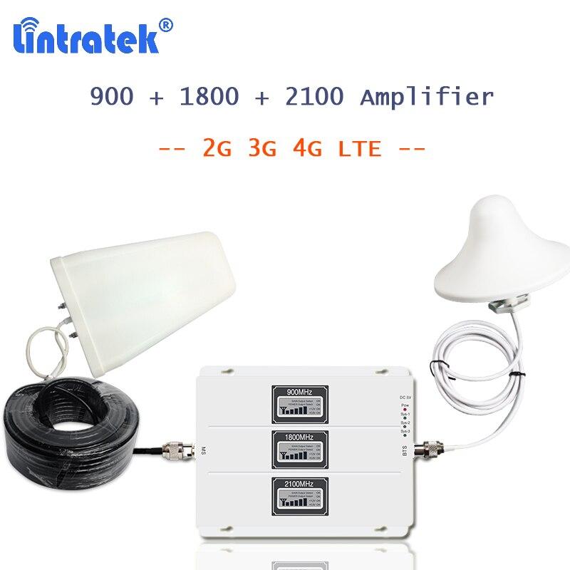 Lintratek téléphone portable 4g signal booster 900 1800 2100 MHz avec 3g 4g antenne écran lcd AGC amplificador gsm 2g 3g 4g 20l-gdw S55