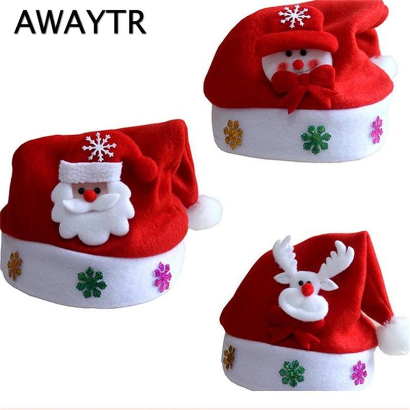 цена на AWAYTR 2017 New 2Pcs/lot Red Santa Snowman Reindeer Kids Christmas Hat Christmas Gifts For Children New Year Gift Cartoon Hats