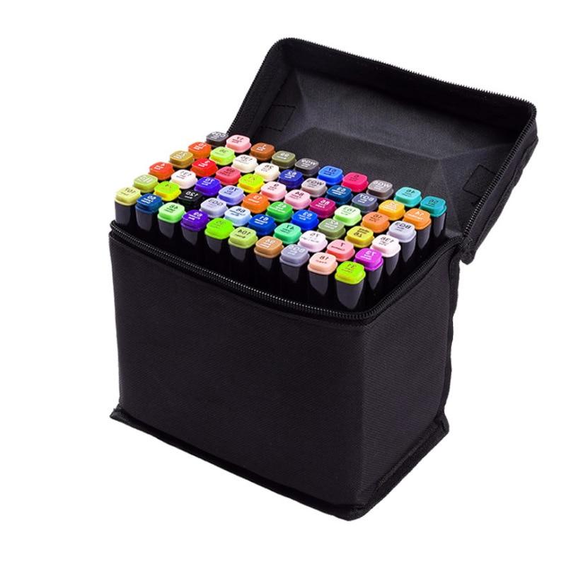 Marker Pens Holder Organizer Marker Case Desktop Storage Canvas Pencil Case Zipper Pen Storage Bag Large Capacity Black