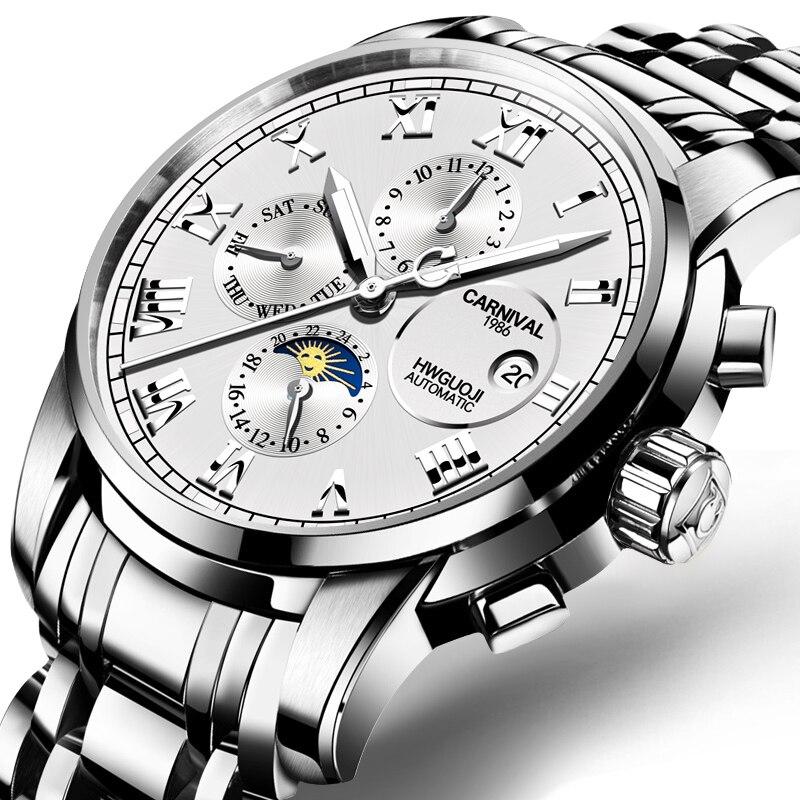 Switzerland Carnival Sapphire reloj hombre Watch Men Brand Luxury Multi-function Men Watches Luminous relogio clock C8008G-1 цена