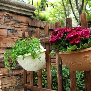 Image 2 - 1pcs Plastic Wall Hanging Flower Pot Half Round Hanging Basket Vertical Planter Balcony Home Decoration Gardening Green Craftses