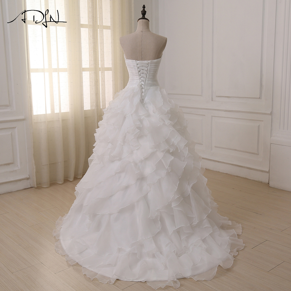 Hot Selling Sweetheart Ruffled Organza Bruidsjurken Sleeveelss - Trouwjurken - Foto 2