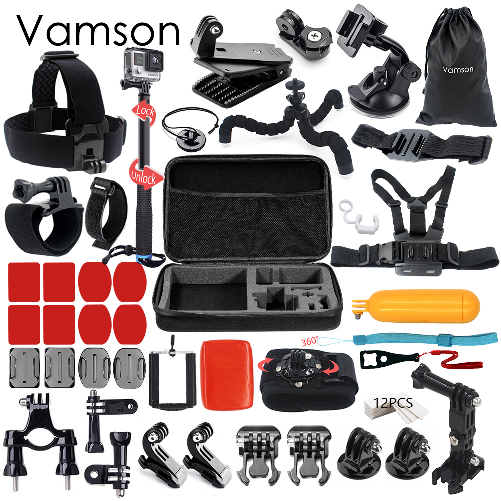 Vamson for Gopro 5 Accessories Kit Mount Monopod For Gopro hero 5 4 3 for Xiaomi for Yi for SJCAM for SJ4000 Action Camera VS60 for gopro hero 4 gopro hero3 accessories kit xiaomi yi accessories for gopro sjcam xiao yi 4k action cam camera bag bike mount