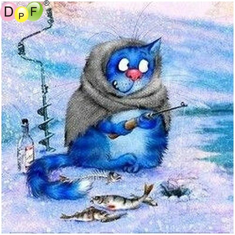 DPF DIY Blue cat fishing 5D crafts home decor diamond embroidery diamond painting cross stitch needlework diamond mosaic squareDPF DIY Blue cat fishing 5D crafts home decor diamond embroidery diamond painting cross stitch needlework diamond mosaic square