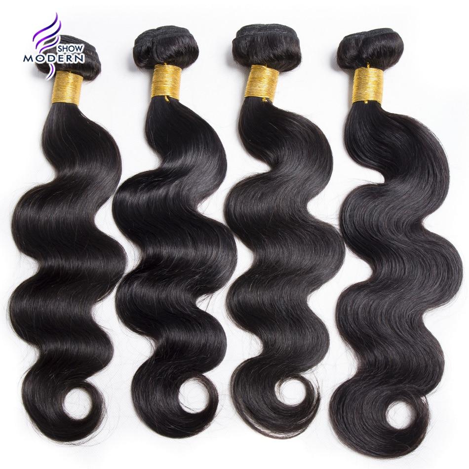 Modern Show Hair 4 Pcs Brazilian Body Wave Human Hair Weave Bundles Natural Color Machine Double Weft Hair Extension None Remy