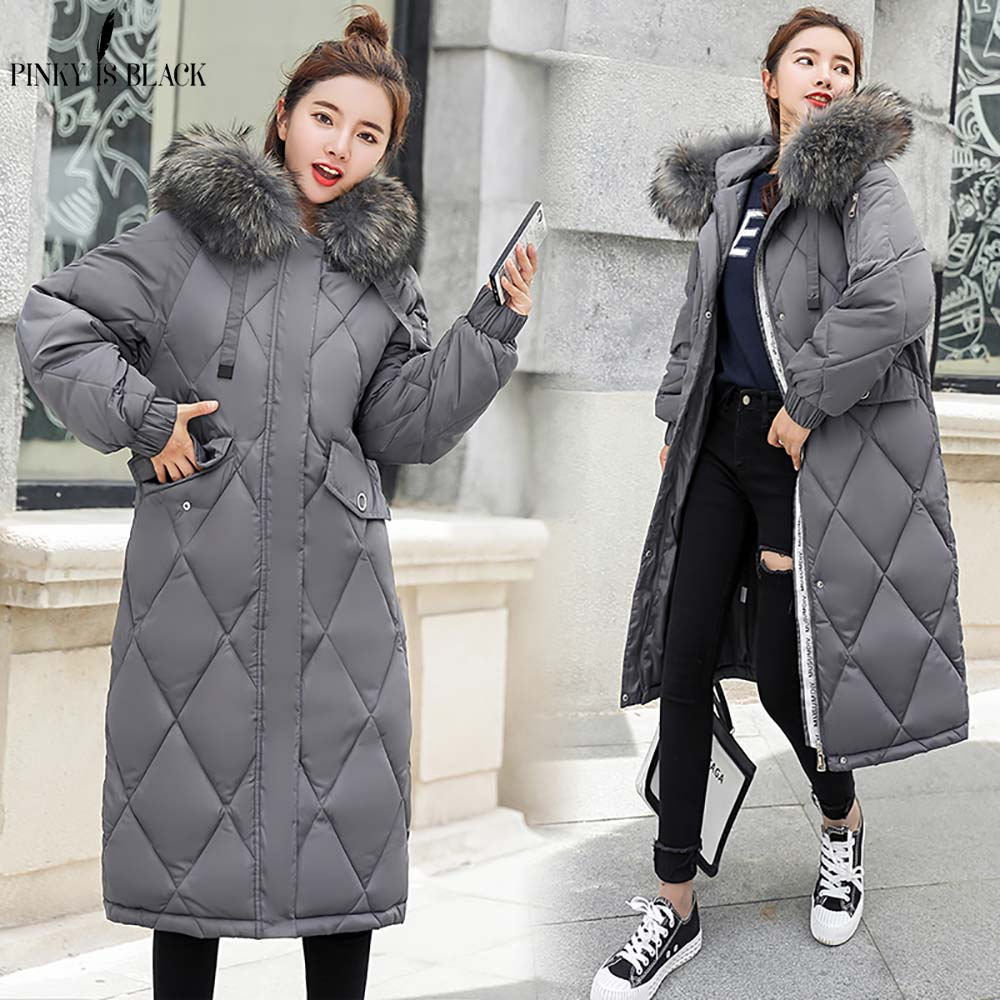 De Chaud Green Veste Col Femelle D'hiver gris Pinkyisblack Longue Vêtements Hiver 2018 army Parkas Fourrure Femmes Manteau Noir ivoire Faux xvwwqn