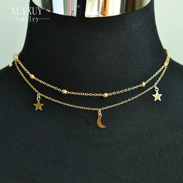 d7e95b2a6327a6 New jewelry 2 layer star moon choker necklace nice gift for women girl  fashion