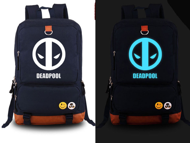 New Marvel Deadpool Backpack Fashion Canvas Student Luminous Schoolbag  Unisex Travel Bags f0fa69081e4c7