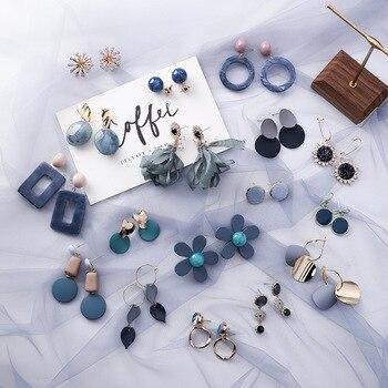 AOMU Korean Summer Blue Geometric Acrylic Irregular Hollow Circle Square Drop Earrings 3