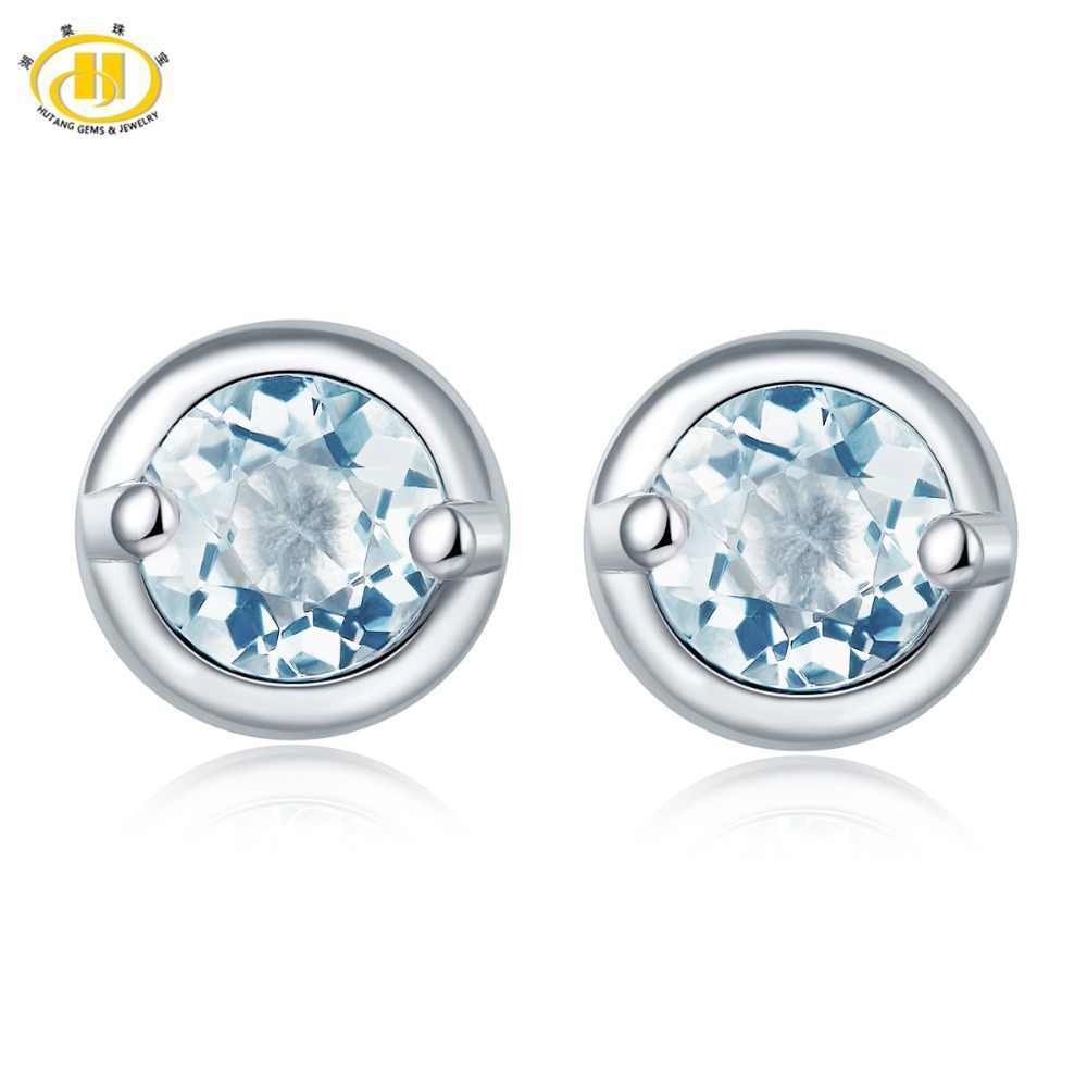 Hutang Women's Stud Earrings Natural Aquamarine Solid 925 Sterling Silver Blue Gemstone Fine Jewelry Elegant Design for Gift New