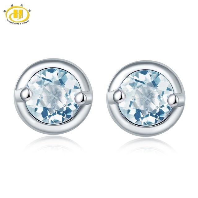 Hutang Stone Jewelry Natural Gemstone Aquamarine Stud Earrings Solid 925 Sterlin