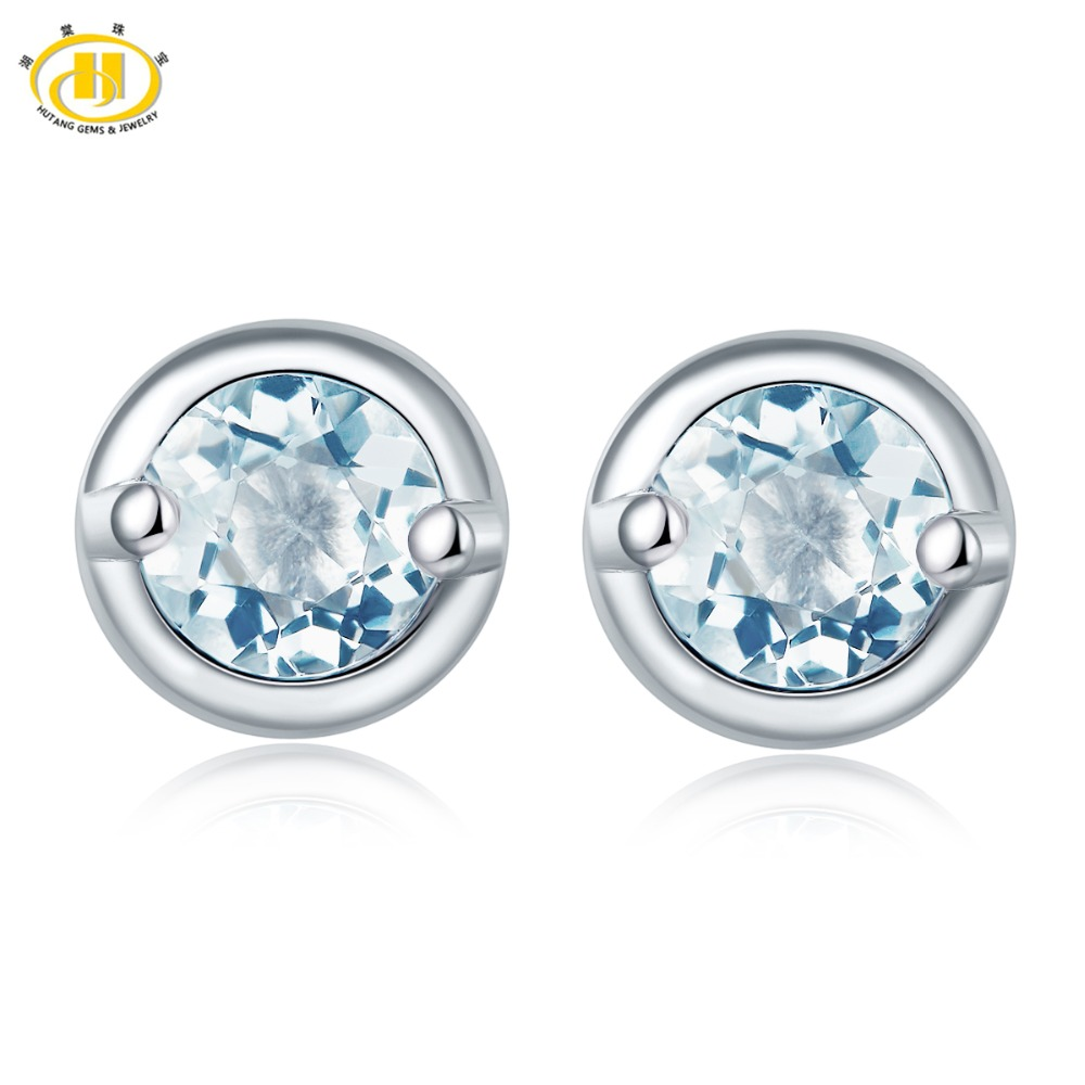 Hutang Stone Jewelry Natural Gemstone Aquamarine Stud Earrings Solid 925 Sterling Silver Fine Fashion Jewelry For Birthday Gift