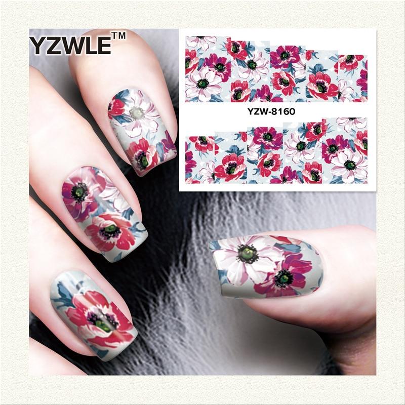 YZWLE  1 Sheet DIY Designer Water Transfer Nails Art Sticker / Nail Water Decals / Nail Stickers Accessories (YZW-8160)