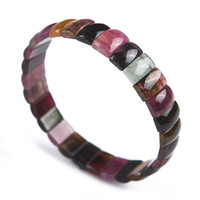 Genuine Natural Crystal Beads Colorful Tourmaline Stone Fashion Stretch Bracelet For Women Gift 11 7 4mm