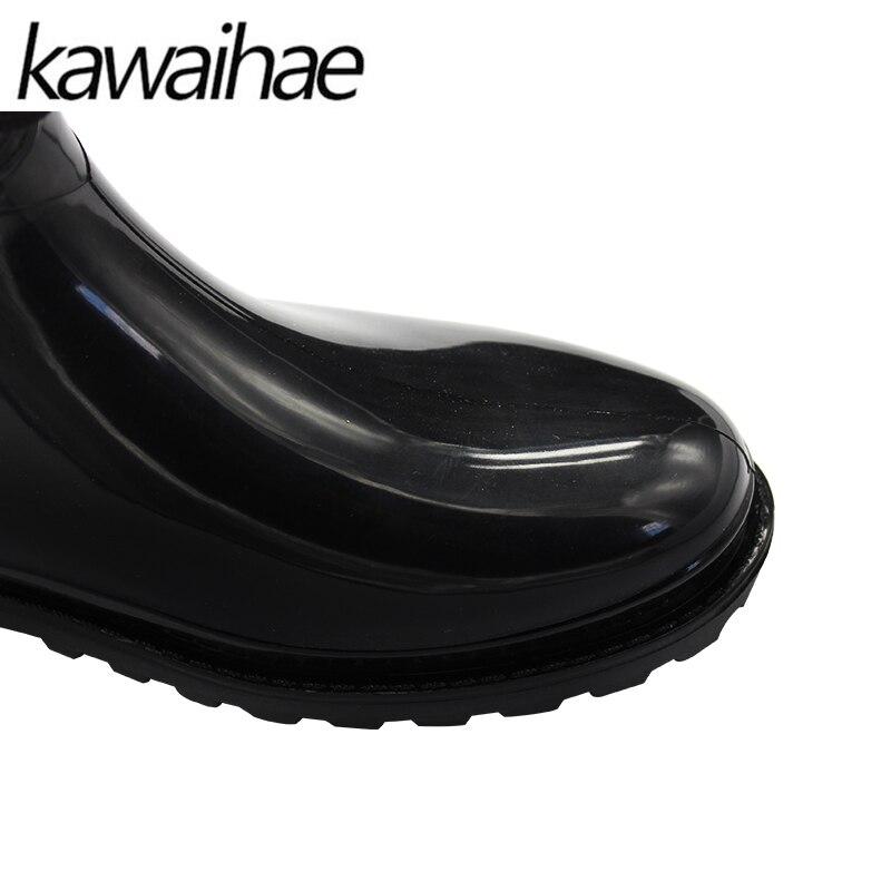 f192022257 Mulheres Botas Dedo Do Pé redondo Preto Sapatos Femininos Chuva Botas de Chuva  Sapatos De Borracha À Prova D' Água Marca Kawaihae 078 em Botas cano médio  de ...