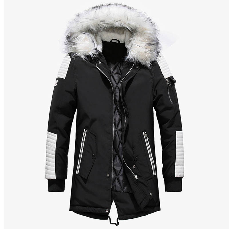 2019 Winter Jacket Men Thicken Warm Parkas Casual Long Outwear Hooded Collar Jackets and Coats Men veste homme