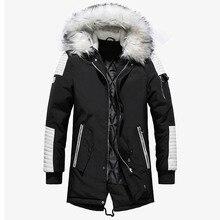真新しい冬ジャケット男性厚み暖かいパーカーカジュアルロング生き抜くフード付き襟ジャケットとコート男性 veste オム卸売