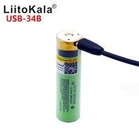1 линза USB-34B USB 18650 аккумулятор 3,7 V 18650 3400 mAh литий-ионный перезаряжаемый аккумулятор USB с DC-charge светодиодный индикатор