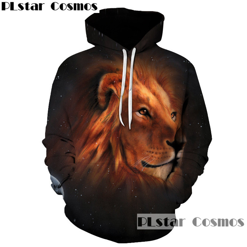 Space Animal Lion Wolf 3D Print Womens Mens Zip Up Hoodie Sweatshirt Jacket Coat